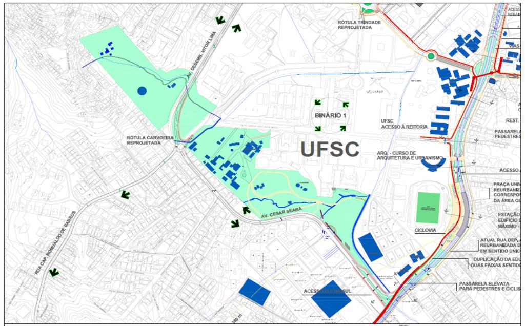 Área de implantação inicial do Parque Universitário e as possibilidades de implantação.